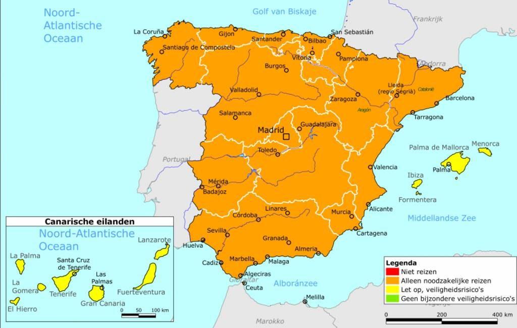 Nederland past reisadvies voor Spanje aan maar zonder wijzigingen in kleurcodes