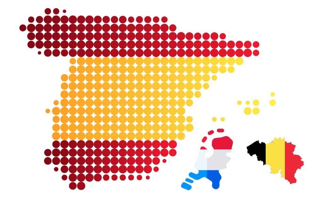 Hoe groot is Spanje ten opzichte van Nederland en België