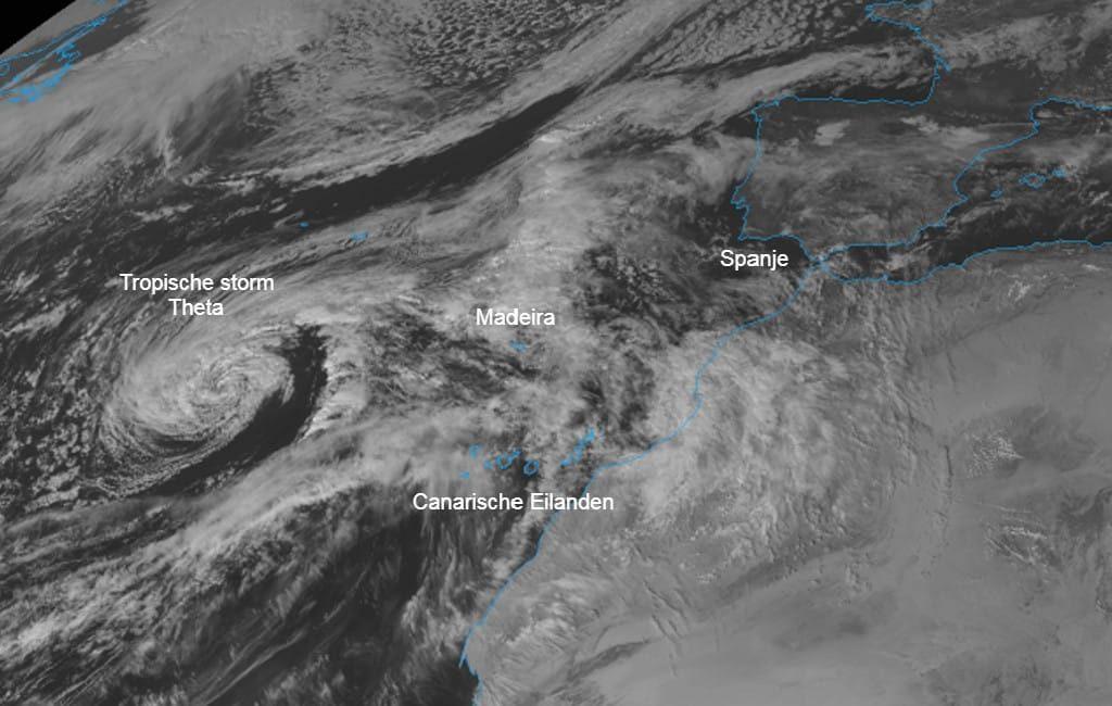 Tropische storm Theta nadert toch diverse Canarische Eilanden