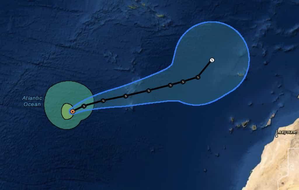 Update tropische storm Theta bij de Canarische Eilanden