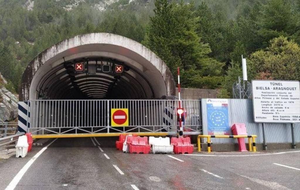 De tunnel van Bielas tussen Frankrijk en Spanje blijft 's nachts gesloten