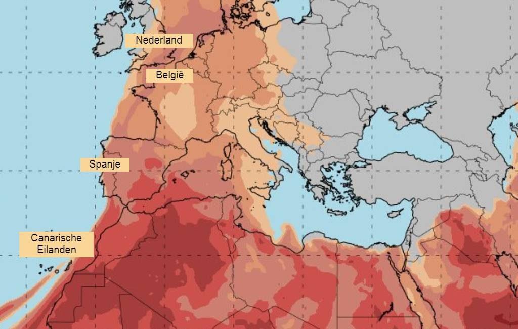 Opnieuw fijn woestijnzand uit de Zahara verwacht in Spanje
